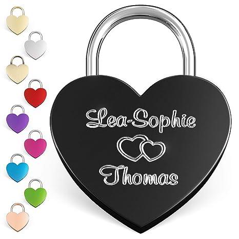LIEBESSCHLOSS-FACTORY Candado de amor Negro grabado en forma de corazón. Caja de regalo gratis y mucho mas.Diseña tu castillo ahora grabado!
