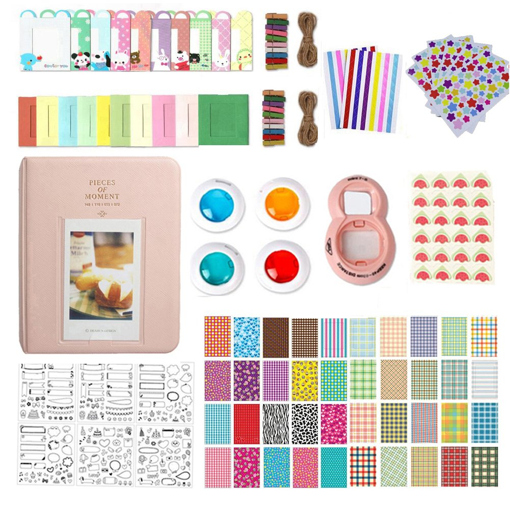 Accessories for Fujifilm Instax Mini 9 / Mini 8, 10 in 1 Bundles Set, included Album Book/Close-up Lens/4 Color Filter/3-Inch Photo Frame/Colorful DIY Film Stickers (Pink) by MAEKIJOY