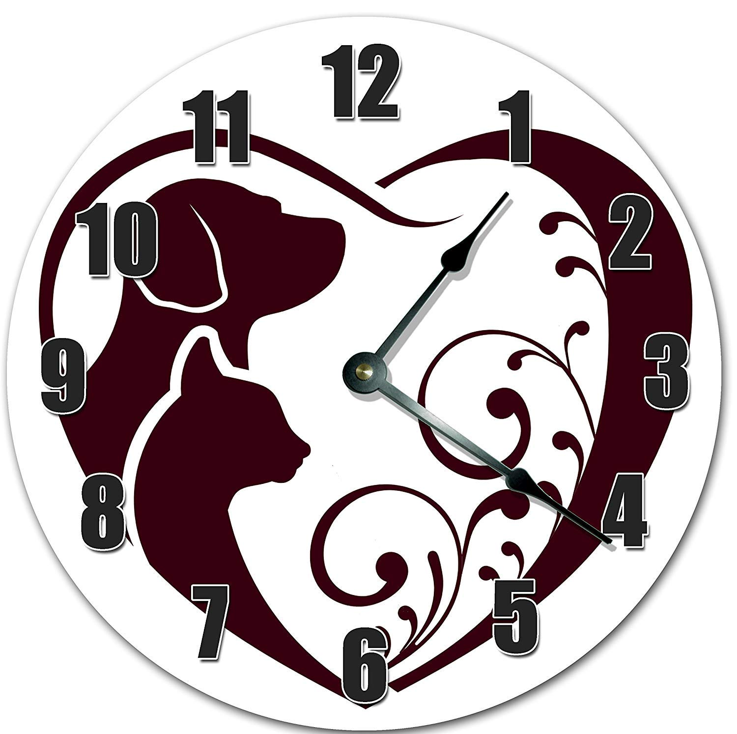 Fancy This 10.5'' Dog CAT PET Heart Love to Animals - Living Room Clock - Large 10.5'' Wall Clock - Home Décor Clock - 10020