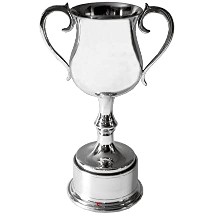 Spun Pewter 200mm Georgian Style Sports Trophy on Integral Plinth