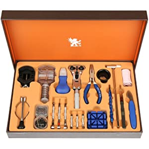 H&S 155pcs Watch Repair Tool Kit Strap Link Removal Adjustment Kit Back Case Remover Opener Removal Tool Spring Pin Bar Watchmaker Tools Kit