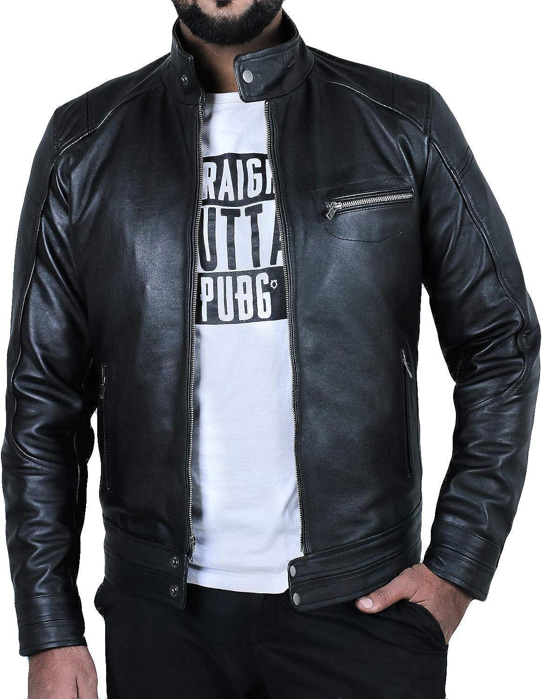 Laverapelle Mens Genuine Cowhide Leather Jacket 1501583 Black, Double Rider Jacket