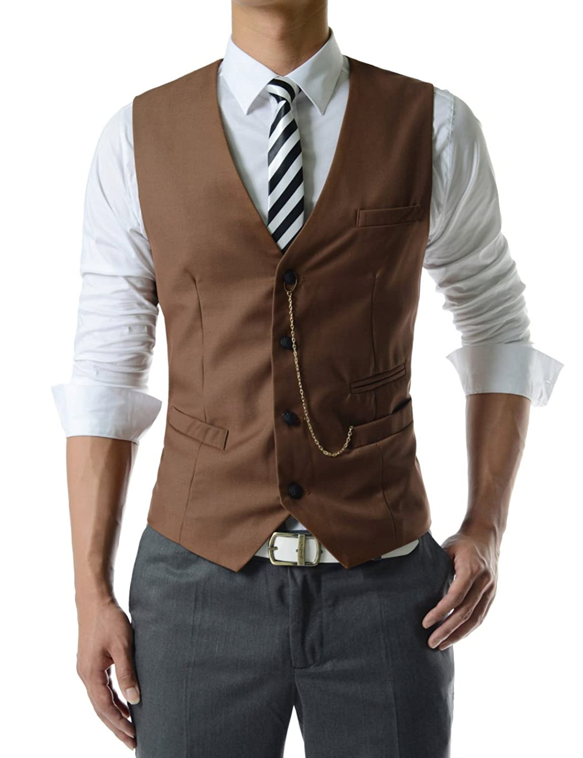 Men's Steampunk Clothing, Costumes, Fashion SVE TheLees Mens slim fit chain point 3 button vest $33.99 AT vintagedancer.com