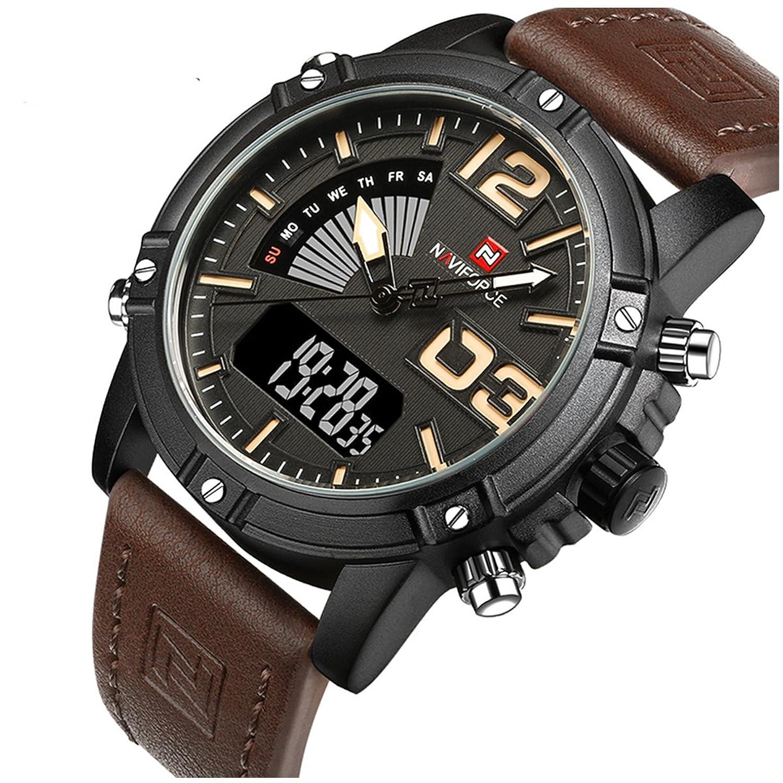 rbstyle Naviforce nf9095メンズブラックWatchスポーツLEDレザーMilitary防水時計 ブラック B0774XJ2FV