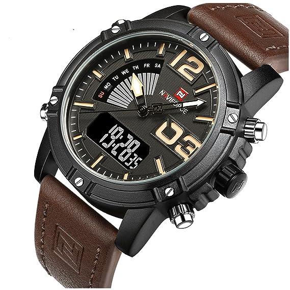 rbstyle Naviforce reloj nf9095 para hombre negro reloj deporte LED piel Military resistente al agua reloj: Amazon.es: Relojes