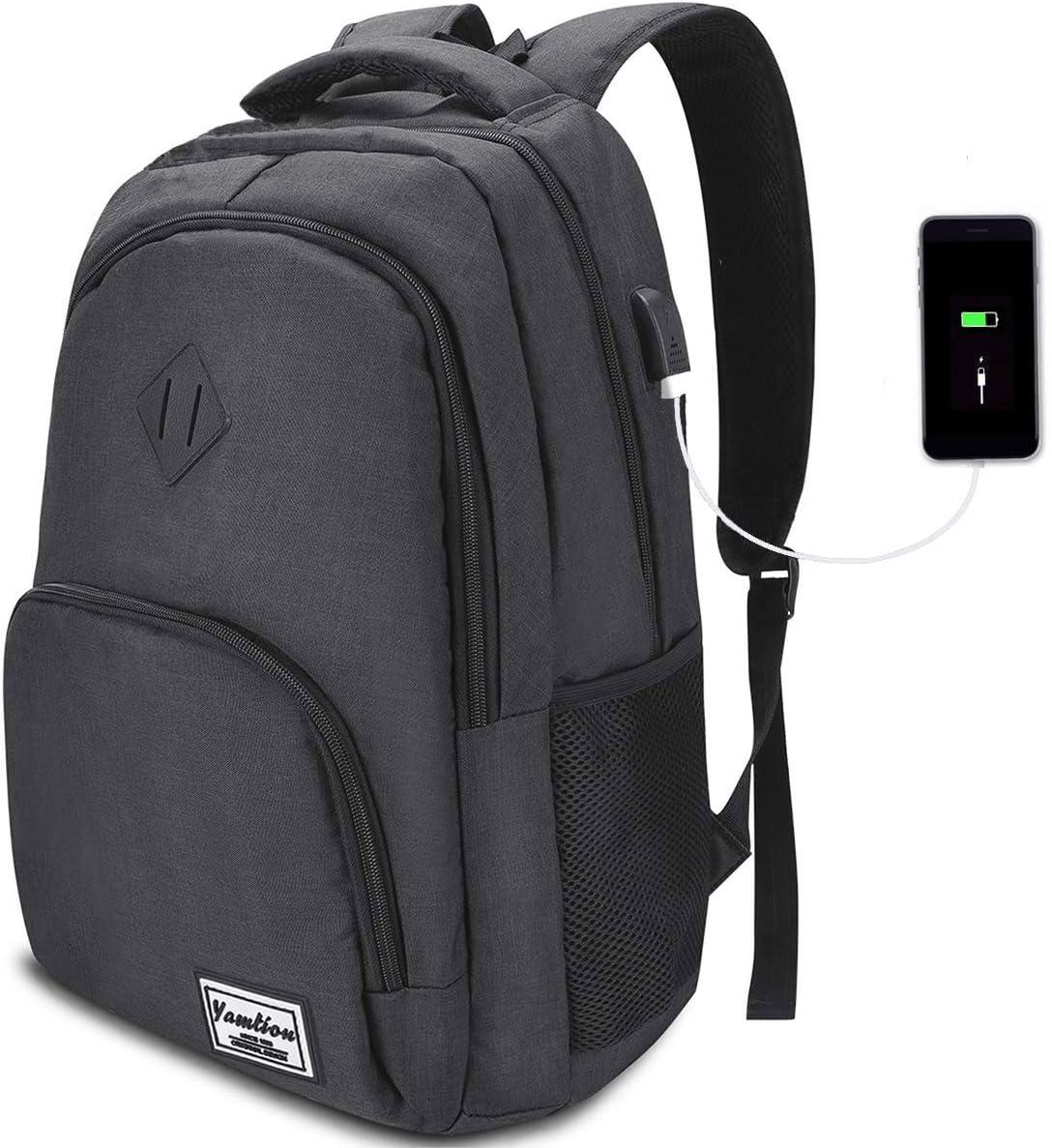 YAMTION 17 Pulgadas Mochila de Portátil con USB Puerto para Escolar Negocio- 35L (17.3 Pulgada, Negro de Carbono)