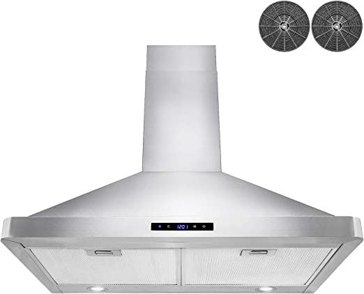 AKDY 30 in. Wall Mount Range Hood Stainless-Steel Hood Fan for Kitchen – 3  Speed Professional Quiet Motor – Premium Touch Control Panel – Modern ...