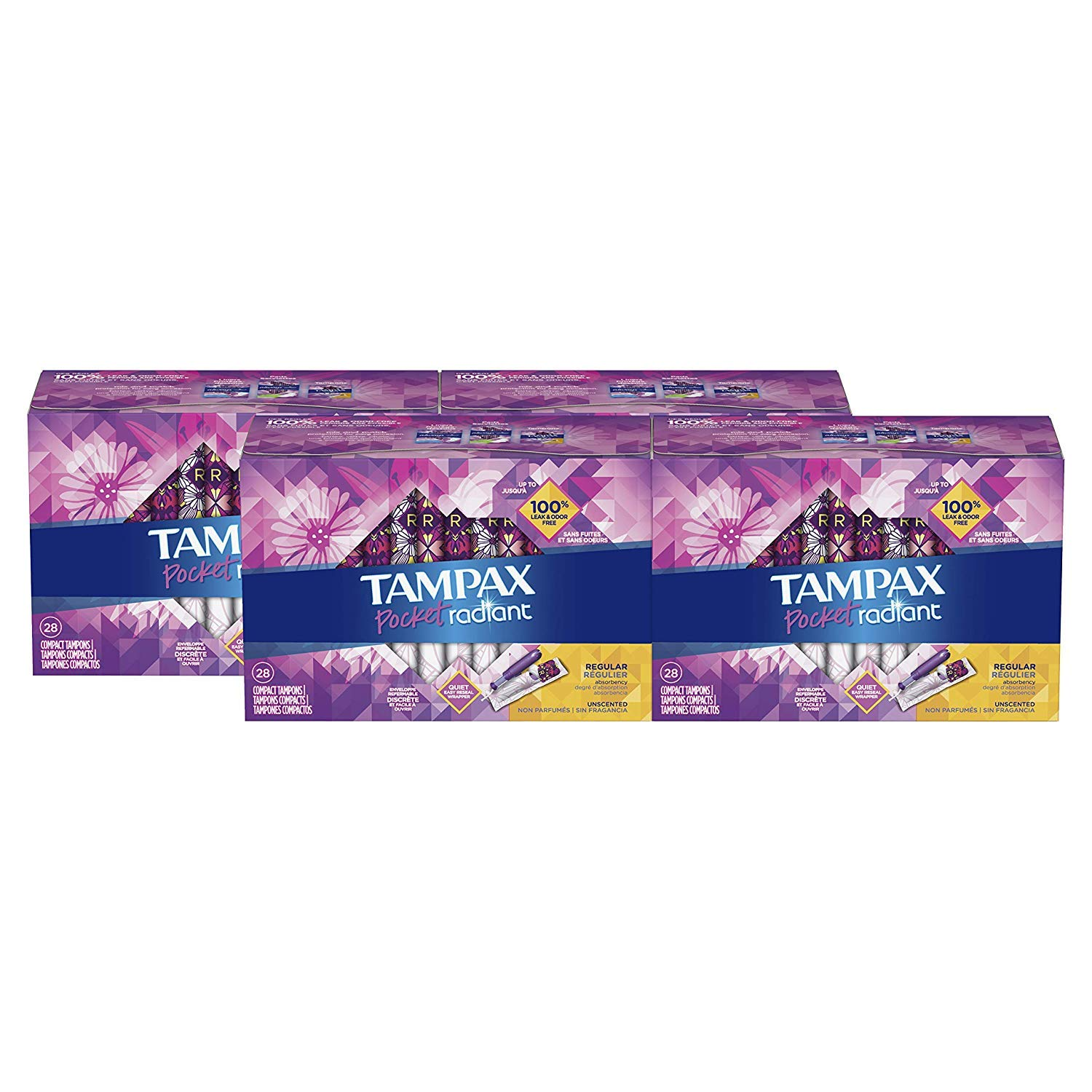 TAMPAX Pocket Radiant, Regular, Compact Plastic Tampons, Unscented, 112 Count (Packaging May Vary)