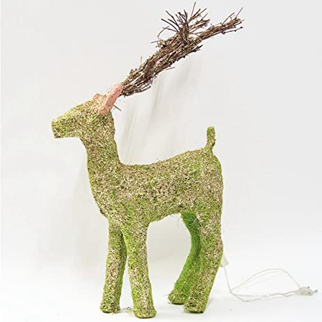 imaly decor 20 decorations lighted rattan green glittering standing reindeer christmas yard art decoration