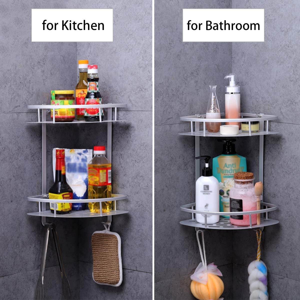 Aluminum Rustproof Adhesive Shower Shelf Kitchen Storage Basket with Hanging Hooks Black Yeegout Bathroom Corner Shelves No Drill