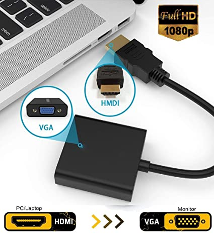 Microware HDMI to VGA, Gold-Plated HDMI to VGA Adapter (Male