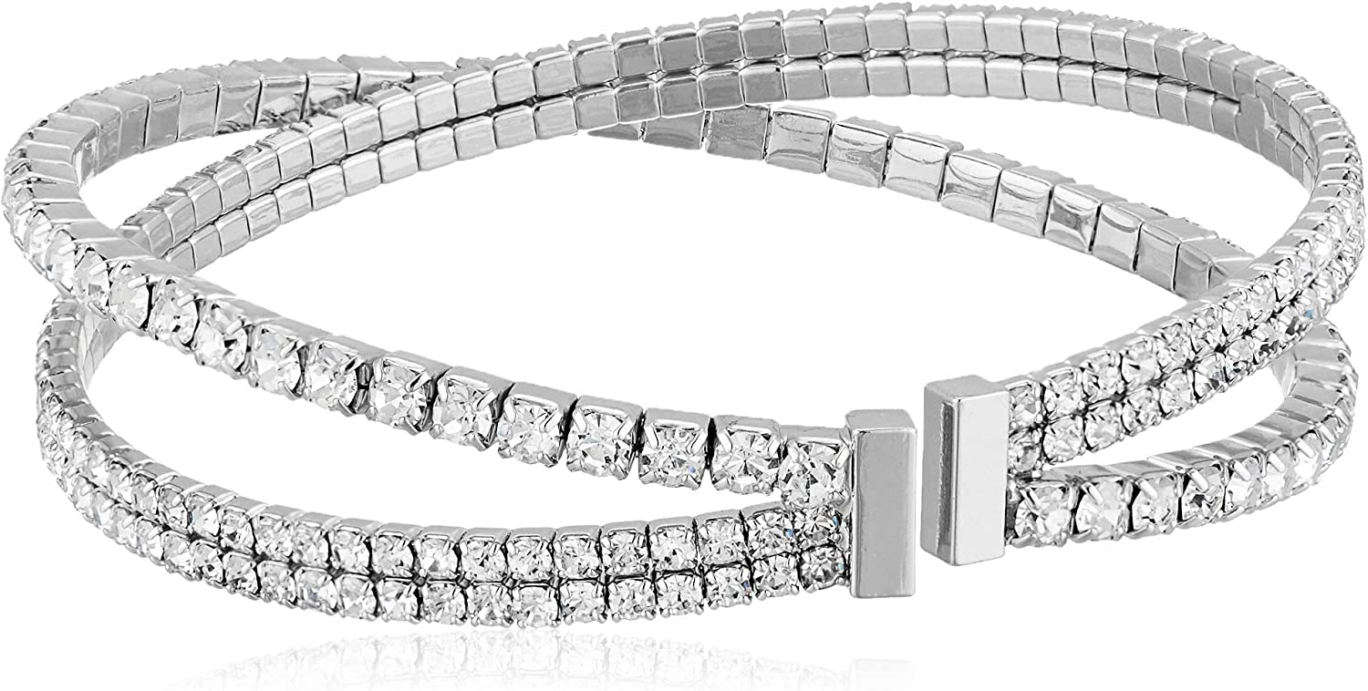 Anne Klein Women's Silver Tone Crystal Pearl Coil Pave Cuff Bracelet, Size: 0