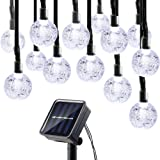 Lumitify Globe Solar Christmas String Lights, 19.7ft 30 LED Fairy Crystal Ball Lights, Outdoor Decorative Solar Lights for Home, Garden, Patio, Lawn, Party and Holiday(White)