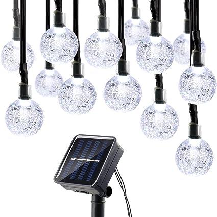 lumitify globe solar christmas string lights 197ft 30 led fairy crystal ball lights