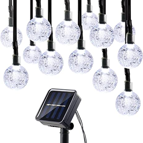 Decorative Solar Lights Outdoor Amazon lumitify globe solar christmas string lights 197ft 30 lumitify globe solar christmas string lights 197ft 30 led fairy crystal ball lights workwithnaturefo