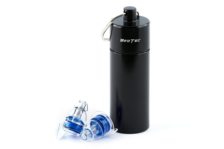 BroTec Gehörschutz Ohrstöpsel mit hochwertigem Filter und Aluminiumtransportbox Gehörschutzstöpsel für Bandproben, Konzerte, Party, Musik, Musiker, Reisen und zum Schlafen