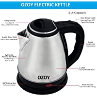Ozoy Electric Kettle 2 LTR Automatic Multipurpose Large Size Tea Coffee Maker Water Boiler with Handle
