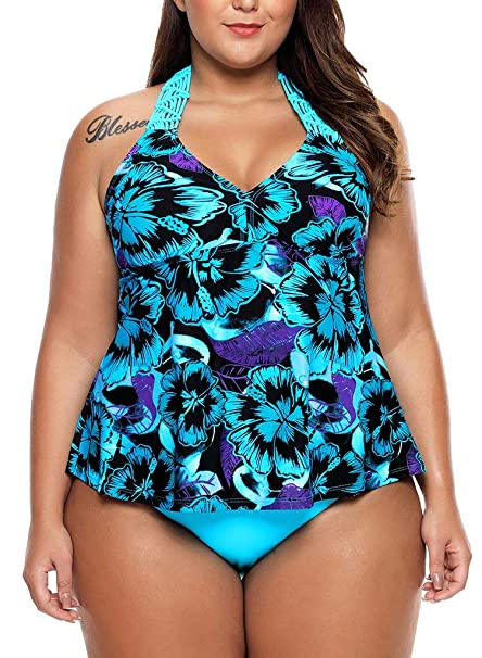 a73b176532 WoldGirls Women's Plus Size 2pcs Tankini Swimsuits Floral Print Macrame  Swimwear: Amazon.ca: Clothing & Accessories