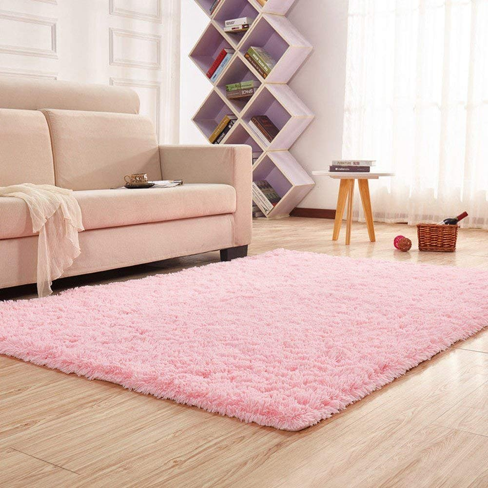 SANMU Soft Velvet Silk Rugs Simple Style Modern Shaggy Carpet Fashion Color Bedroom Mat for Girls Home Decor,4 x 5.3 Feet Pink by Softlife (Image #2)