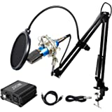 TONOR Pro Condenser Microphone XLR to 3.5mm Podcasting Studio Recording Condenser Microphone Kit Computer Mics with 48V Phantom Power Supply