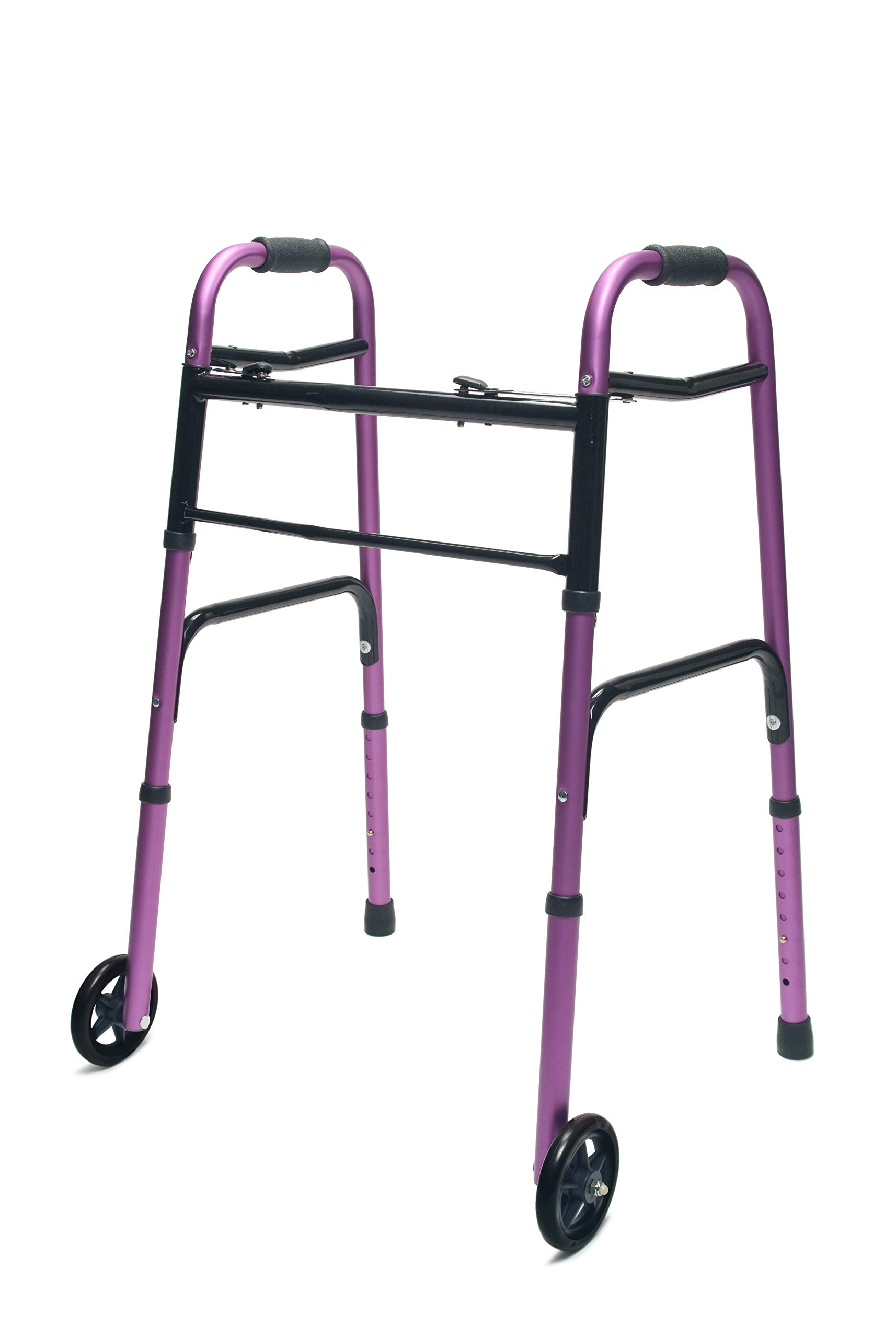 Lumex ColorSelect Adult Walker with 5'' Wheels, Plum, 716270P-1 by Graham-Field