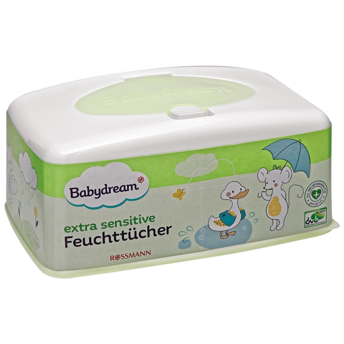 Babydream extra sensitive Feuchttücher Box 1 Stück für empfindliche Haut, schonende Reinigung, ohne Pafüm, mit Aloe Vera & Allantion, bei Neurodermitis geeignet ohne Pafüm