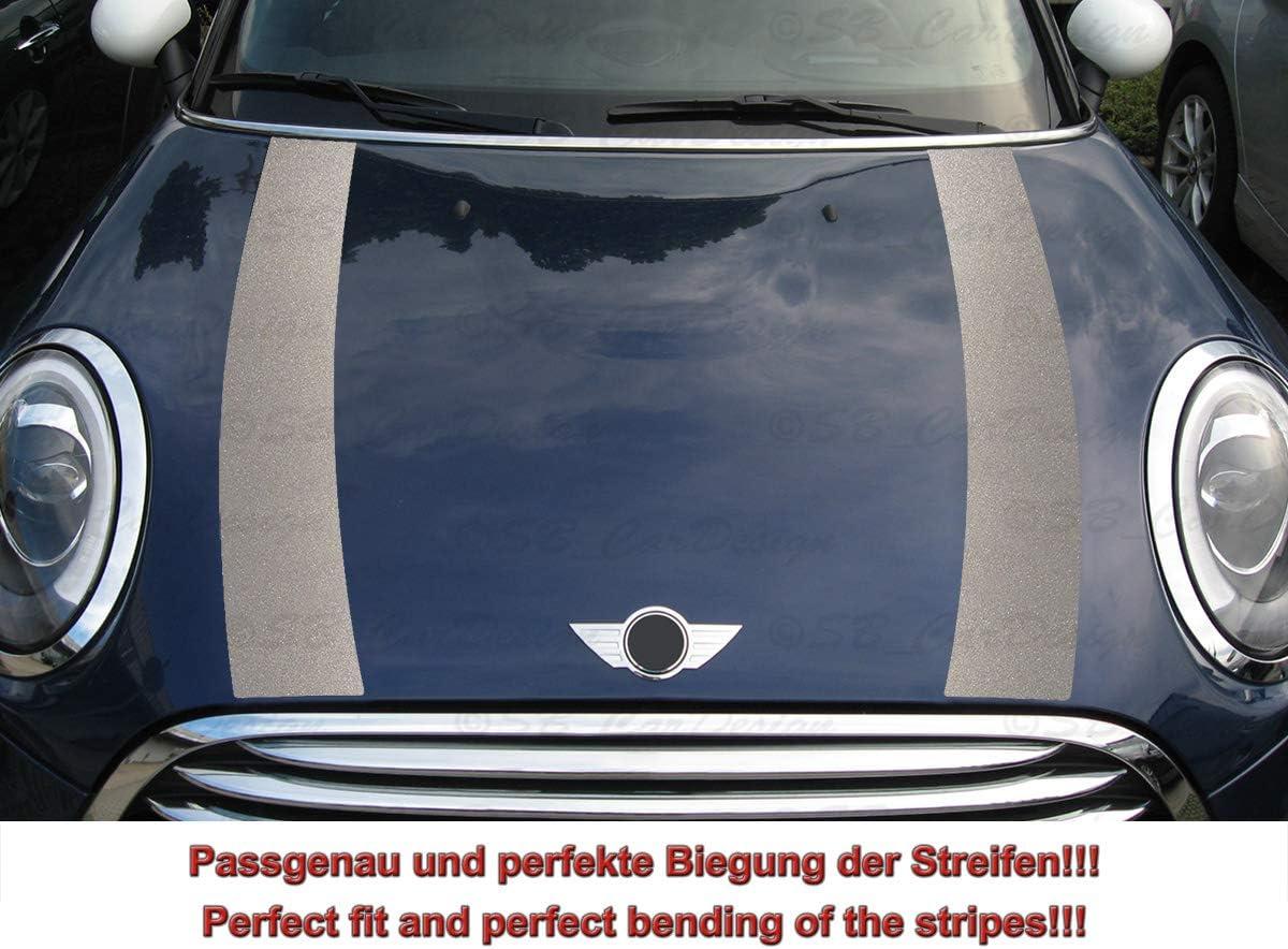 Streifen Stripes Aufkleber Motorhaube Für F55 F56 F57 Mini Cooper Silber Metallic Design 1 Auto