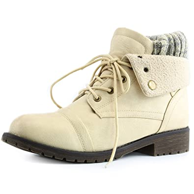 74b9bf344f9 Women s DailyShoes Combat Style Lace Up Sweater Top Ankle Bootie With  Pocket for Credit Card Knife