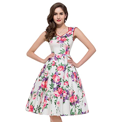 GRACE KARIN Women 50s Cocktail Dresses Floral Print Swing Dress CL7600