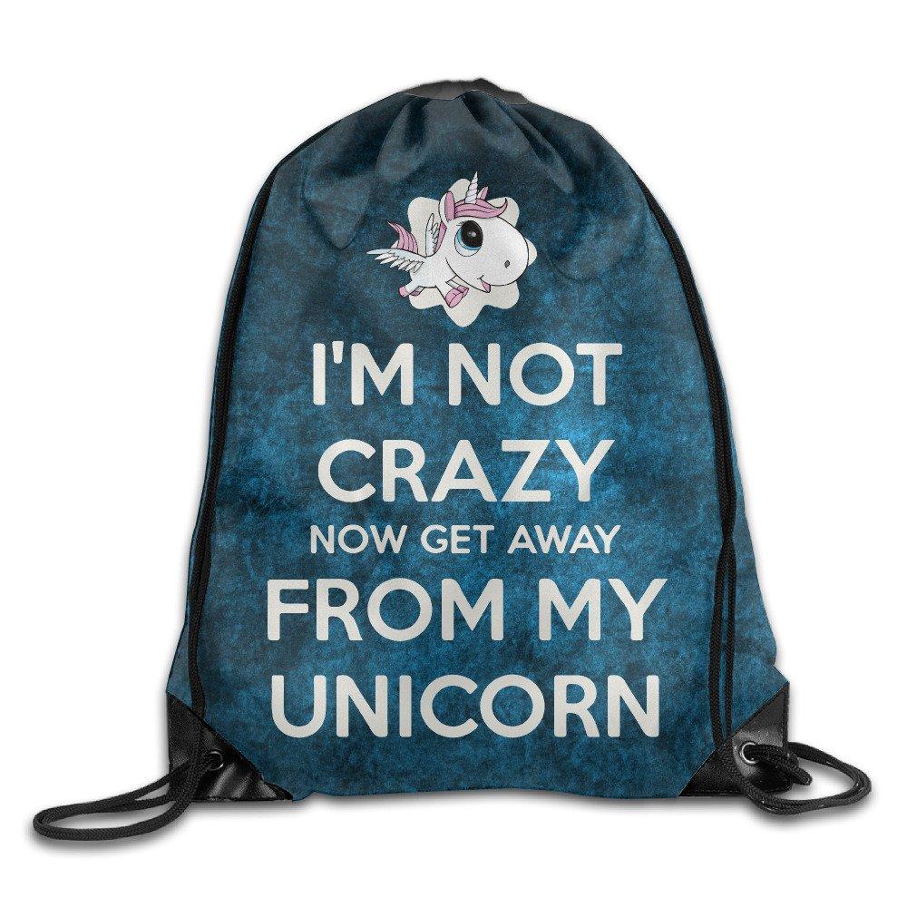 I Ma Not Crazyユニコーンポートバッグドローストリングバックパック B01N90AUHK   One Size