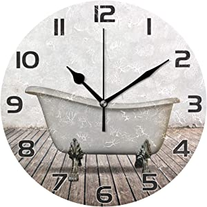 Qilmy Vintage Bathtub Wall Clock Silent Non Ticking Oil Painting Round Clock for Living Room Bedroom Bathroom Home Decor