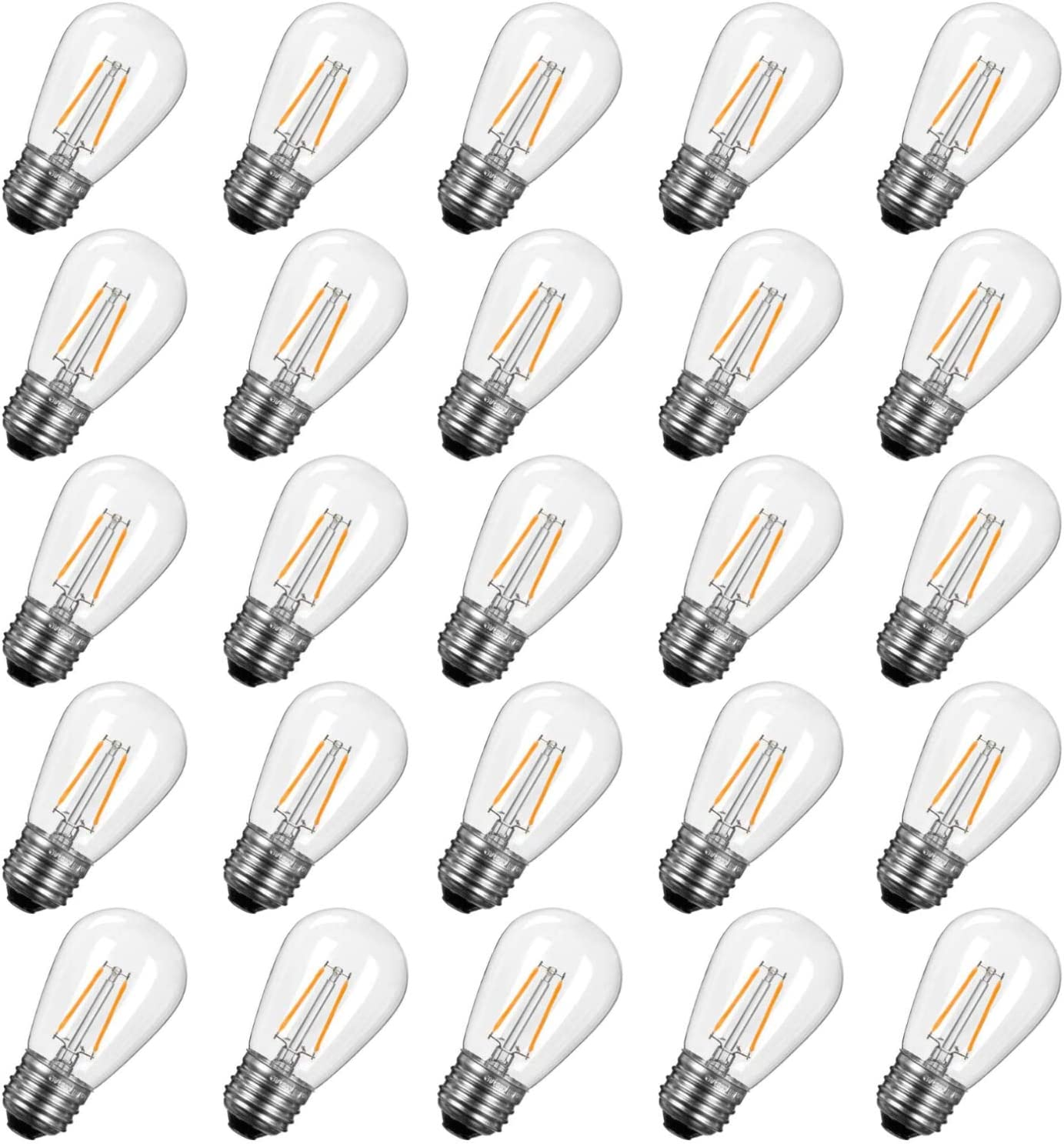 Shatterproof LED S14 Replacement Light Bulbs-E26 E27 Medium Screw Base Edison Bulbs Equivalent to 11 W, Fits for Commercial Outdoor Patio Garden Vintage Lights, 25-Pack, Warm White