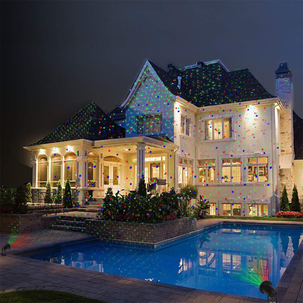 OUTTUO LED Lichteffekt Dekoration, innen/auß en IP65 LED Projektor, Gartenleuchte Projektor, Mauer Dekoration, Party Licht, Gartenlicht fü r Festen, Weihnachten, Karneval (Rot + Grü n)