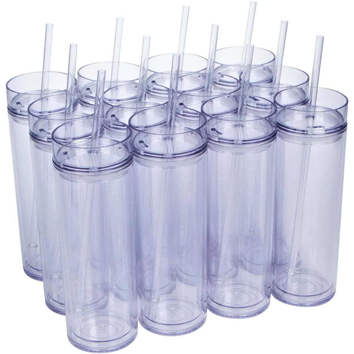12 Pack - Insulated Acrylic Tumblers with Lids and Reusable Straws, 16oz Clear Skinny Travel Water Bottles, Double Wall