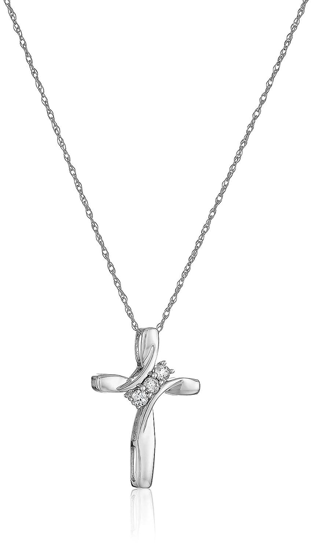 Amazon 10k rose gold diamond 3 stone cross pendant necklace 1 amazon 10k rose gold diamond 3 stone cross pendant necklace 110cttw i j color i2 i3 clarity 18 jewelry aloadofball Image collections