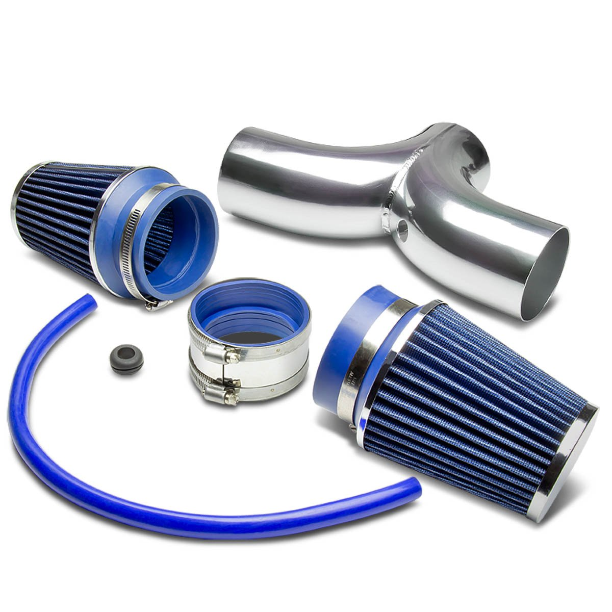 For Dodge SUV//Truck Cold Air Intake Pipe Kit Set Silver Pipe+Red Filter