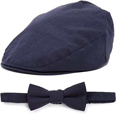 Old Navy Boy/'s 12-24M Black Herringbone Newsboy Cap-Suspenders-Choose A Bow Tie