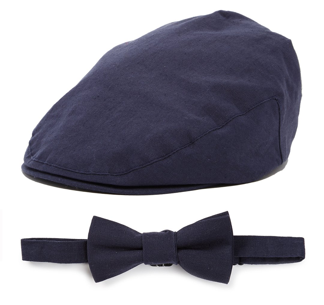 Born to Love Baby Driver Cap and Bow tie Sets (L 54 cm, Navy Bow tie)