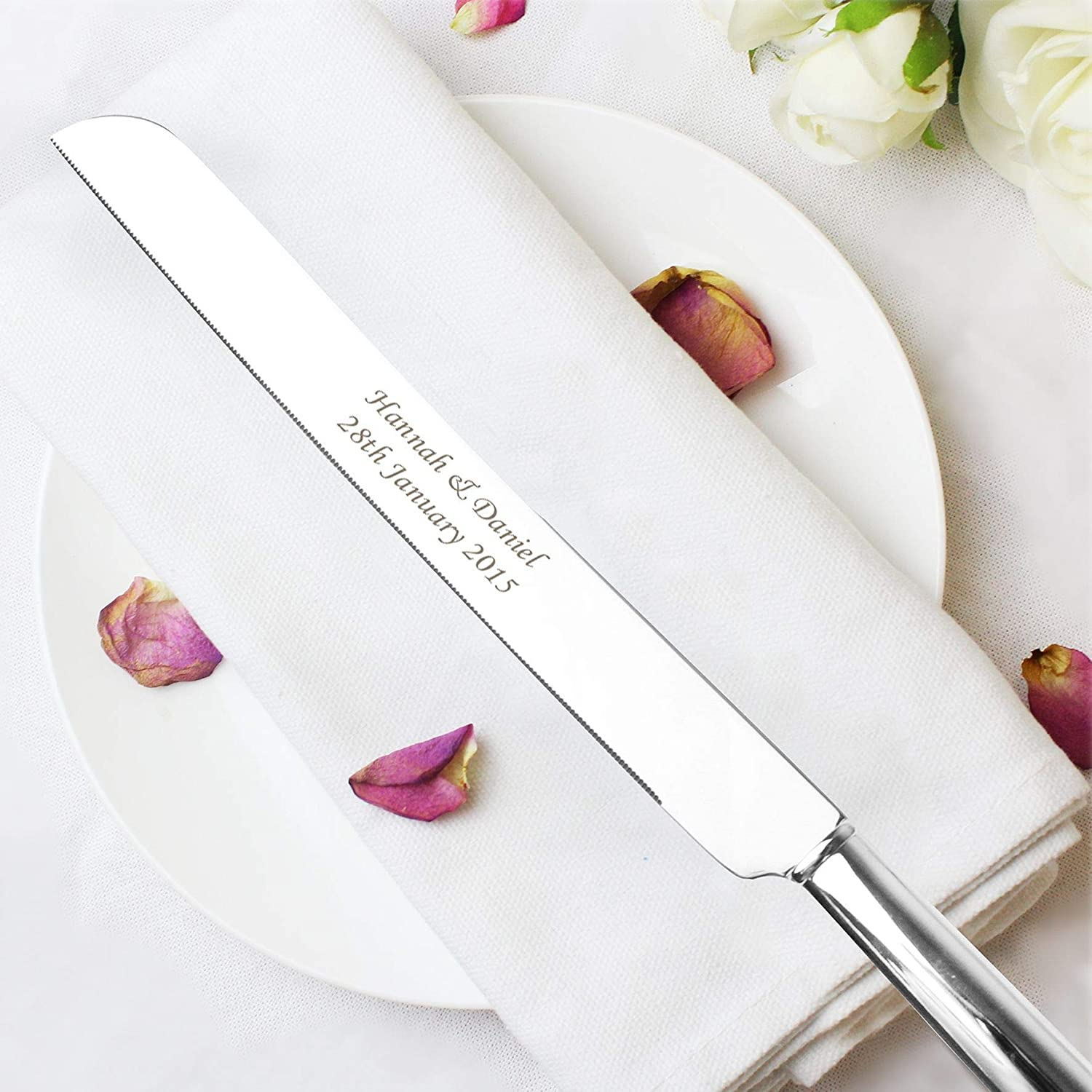 Personalised Silver Plated Heart & Crystals Cake Knife FREE ENGRAVING Widdop WY108
