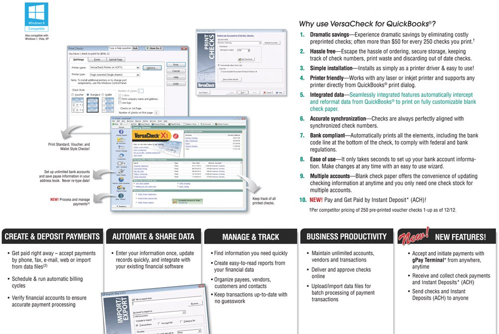 Amazon.com : VersaCheck X1/gT for QuickBooks : Check Writers ...