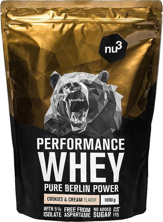 nu3 Whey Protein - Batido proteico sabor Cookies & Cream - 1 kg de suero en polvo con 74.3% de proteína - Aminoácidos BCAAs + proteína isolate - ...