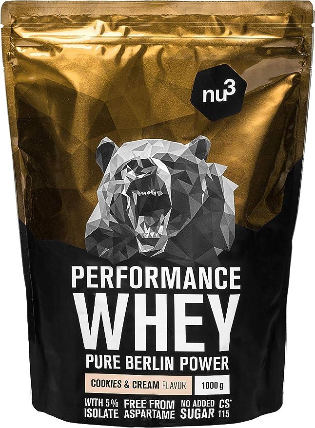 nu3 Performance Whey Protein Cookies & Cream - 1kg de proteina de suero en polvo - 74.3% de proteína whey - Con aminoácidos BCAAs + proteína aislada ...