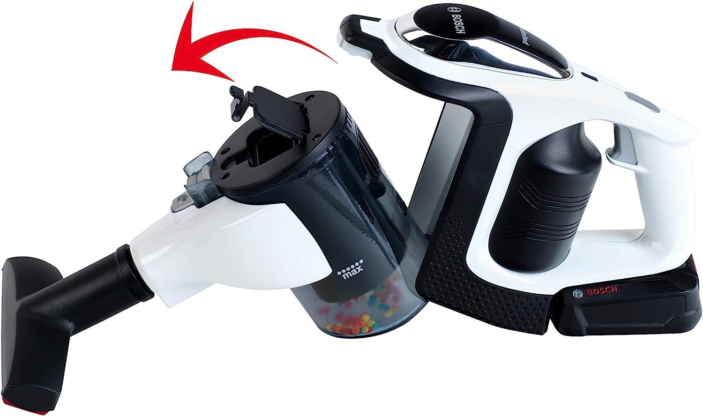Theo Klein 6812 Aspiradora Bosch Unlimited, Aspiradora a pilas con función de aspirado y sonido, Boquilla de suelo giratoria y extraíble con rodillo, a partir de 3 años , 16 cm x