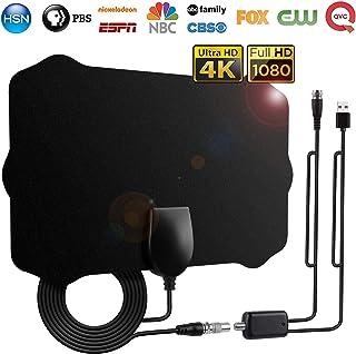 Antenne TV Intérieur Puissante, 120 Miles /200 km d'autonomie Antenne TNT Intérieure Signal Amplificateur Booster avec 4.2m câble coaxial-VHF/UHF/FM, Soutenir Smart TV HD 4K 1080P