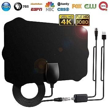 Antena TV Interior, Antena de HDTV con Amplificador Portátil 120 Millas de Señal y Cable Coaxial de 12.1 FT,Obtenga Muchos Canales de TV Gratis