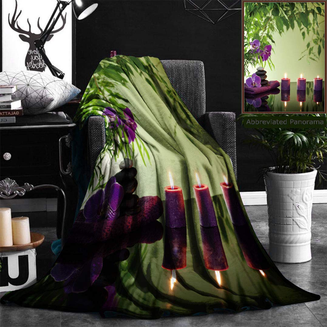 Nalagoo Unique Custom Flannel Blankets Spa Still Life With Zen Stones Aromatic Candles And Orchids Super Soft Blanketry for Bed Couch, Throw Blanket 50'' x 70''