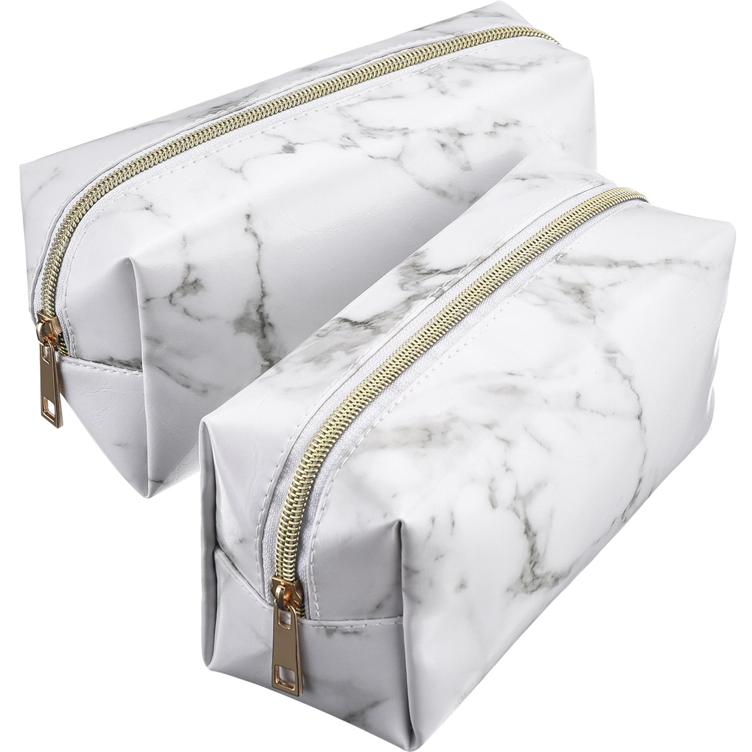 Mtlee 2 Pieces Cosmetic Toiletry Makeup Bag Pouch Gold Zipper Storage Bag Marble Pattern Portable Makeup Brushes Bag (White)
