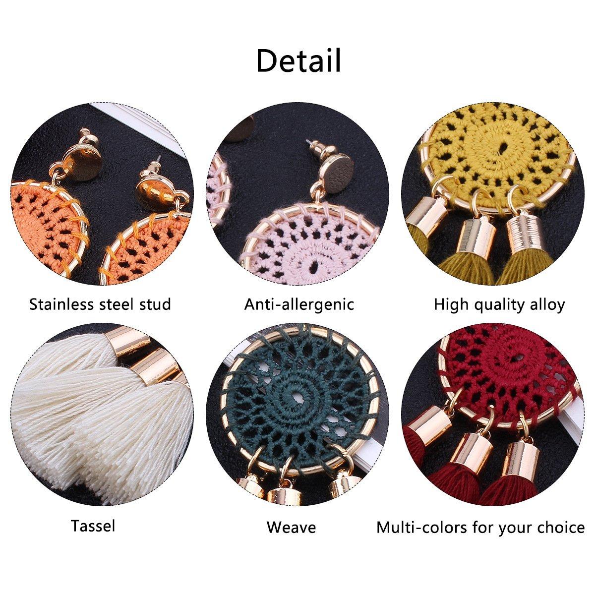 Tassel Earrings White Long Bohemian Geometric Dangle Earrings for Women by FEDNON (Image #3)