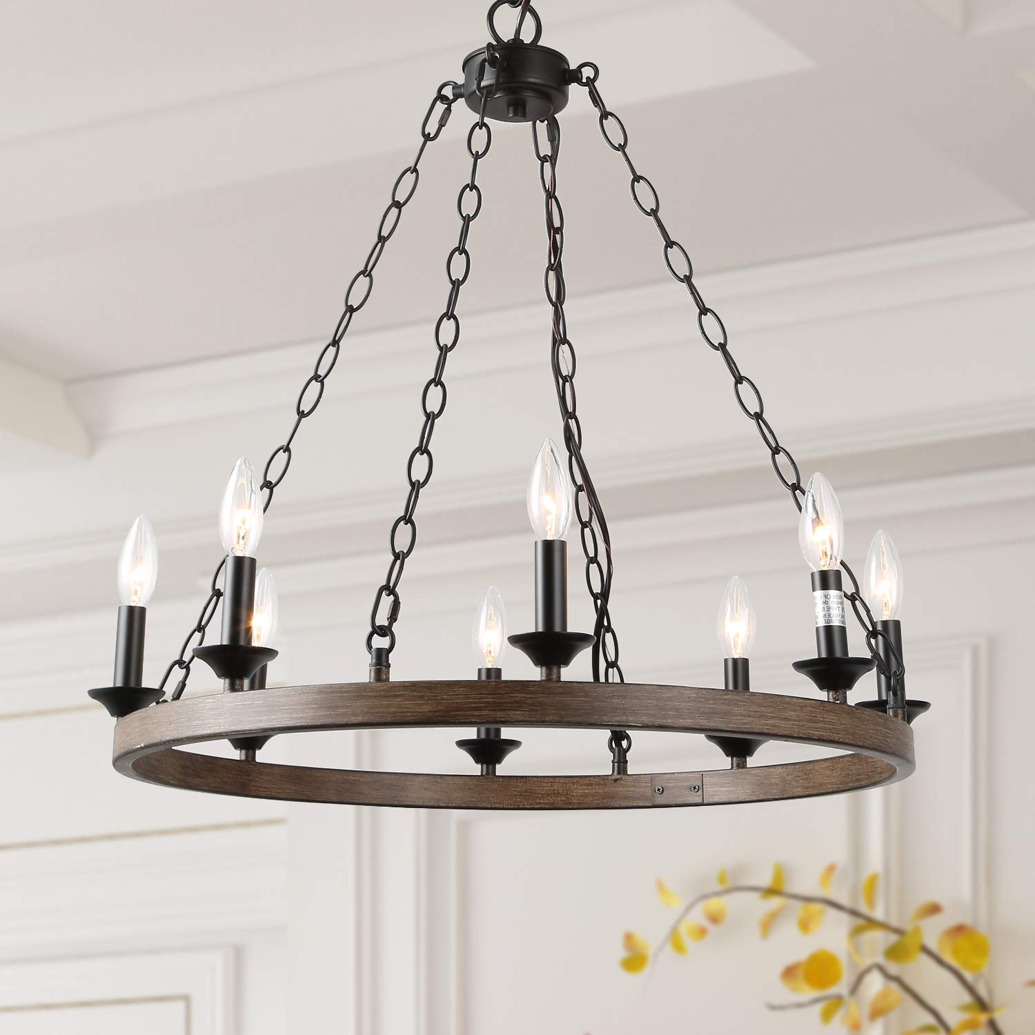 Log barn 8 lights farmhouse island pendant wagon wheel lightening chandelier in metallic faux wood finish 26 medium kitchen light fixture a03470