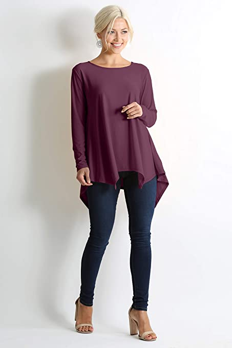 dfd2c16de25 Womens Tunic Top Reg and Plus Size Asymmetrical Shirts for Women - Made in  USA at Amazon Women's Clothing store: